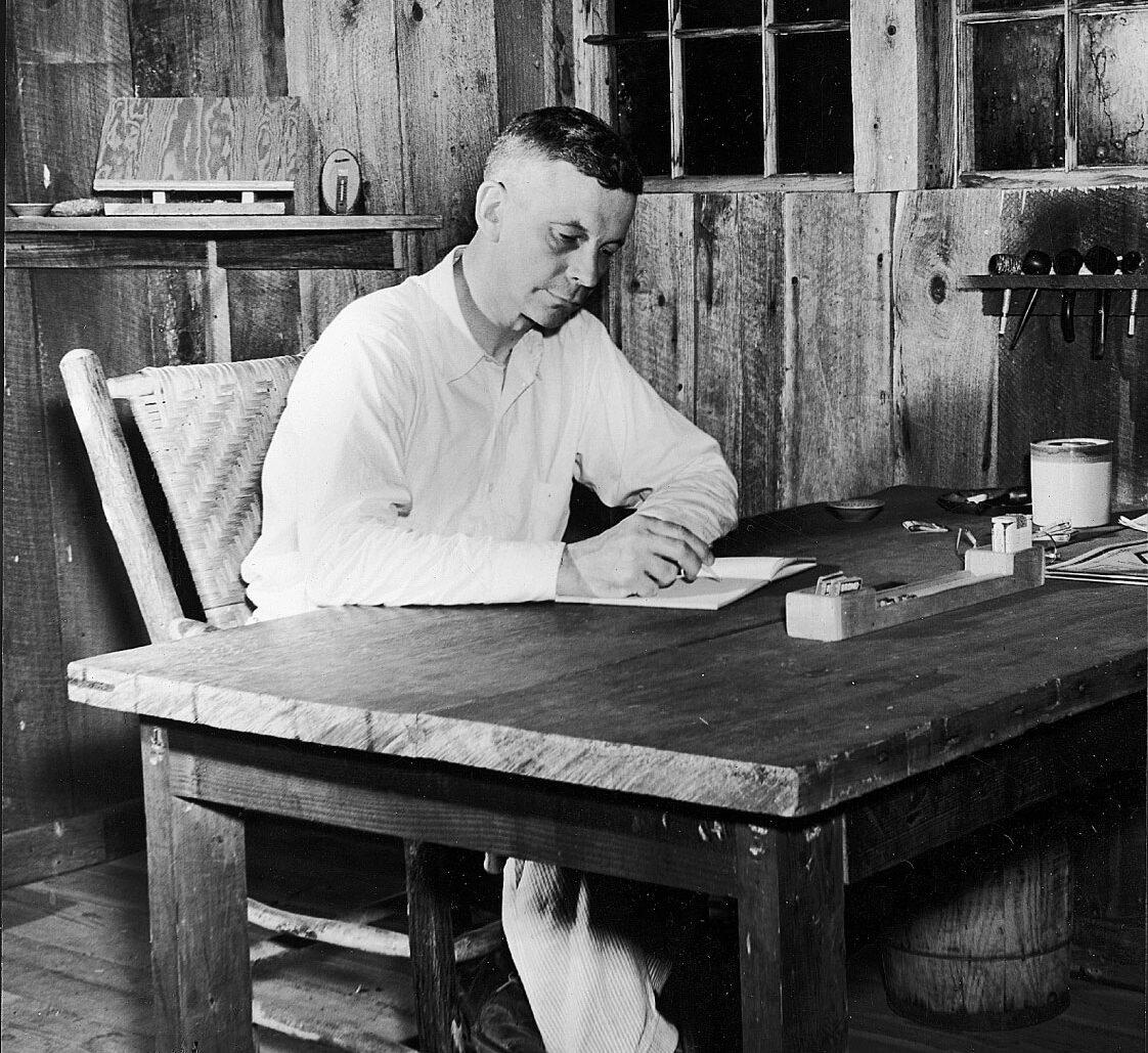 Mark Van Doren (1894-1972) in his studio, c. 1930.